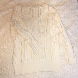 Zara White V Neck Knit Sweater